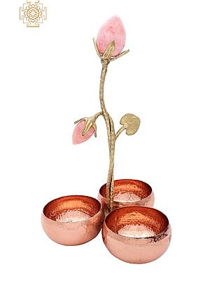Set of 3 Connected Table Bowls with Rose Buds