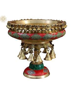 "6"" Urli With Bell | Brass Urli | Temple Decor | House and Office Diwali Decor | Urli Bowl | Inlay Work |"
