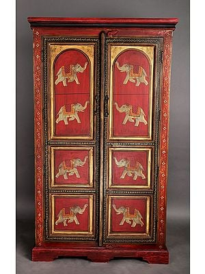 """60"""" Antique Wooden Cabinet with the Image of  Elephant 