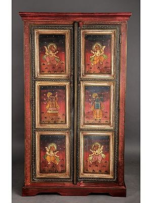 """59"""" Antique Wooden Cabinet with the Image of  Ganesha 