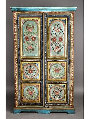 """60"""" Antique Wooden Cabinet with the Flowers Design 