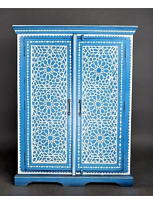 """47"""" Antique Traditional Lattice with Star Design Cabinet 