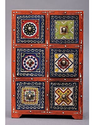 """11"""" Hand Painted Decorated Boxes with Ceramic Tiles 