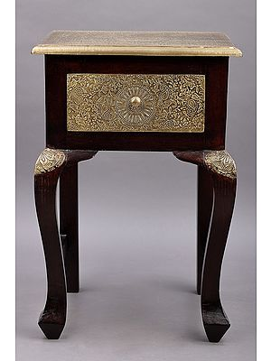 """24"""" Wooden Hand Carved Side Table with Drawer 