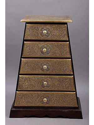 """27"""" Wooden Pyramid Shape Drawer With Brass Fitting 
