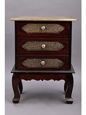 """24"""" Wooden Hand Carved Side Table with Three Drawer 