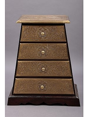 """23"""" Pyramid Shape Four Drawer With Brass Fitting 