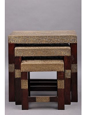 """17"""" Set of 3 Wood Stool with Brass Work 