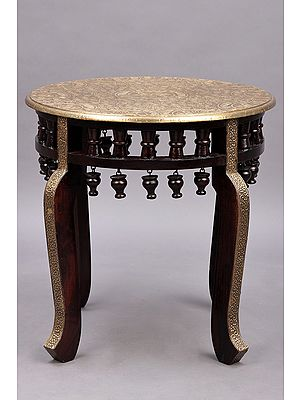 """17"""" Round Wooden Stool with Brass Work 