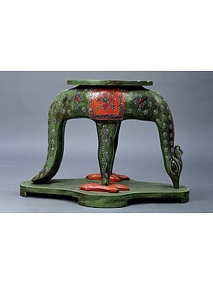 """15"""" Decorative Hand Painted Wooden Deer Table   Wooden Table   Handmade   Made In India"""