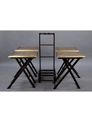 """20"""" Set Of 4 Wooden Coffy Table with Brass Carved Sheet Work   Wooden Table   Handmade   Made In India"""