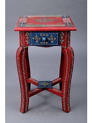 """17"""" Decorative Hand Painted Wooden Stool 