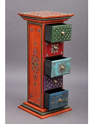 """27"""" Decorative Hand Painted Wooden Side Table with Drawer 