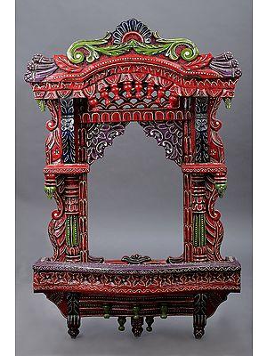 "38"" Large Hand Painted Jharokha (Window)   Wood Jharokha   Handmade Art   Made In India"