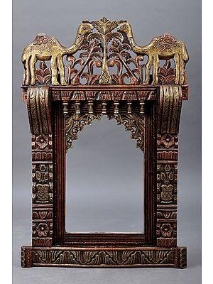 "34"" Large Hand Painted Camel Design Jharokha (Window)   Wood Jharokha   Handmade Art   Made In India"