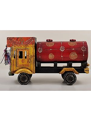 """8"""" Hand Painted Decorative Oil Tanker Truck   Wood Oil Tanker Truck   Handmade Art   Made In India"""