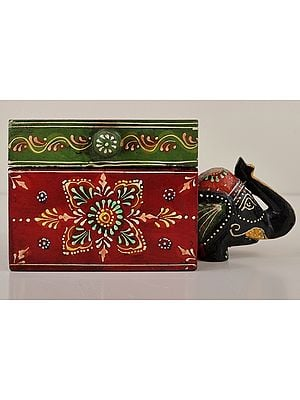 """4"""" Small Hand Painted Elephant Decorated Boxes 
