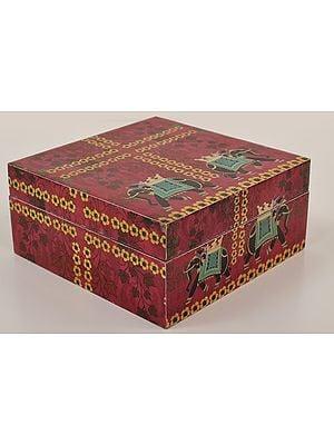 "3"" Elephant Print Decorated Boxes | Mango Wood | Handmade | Made In India"