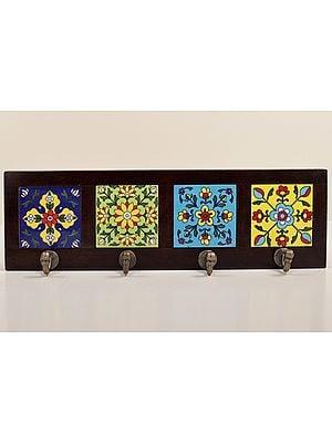 "2"" Decorative Wood Key Holder | Wooden Key Holder | 4 Hooks, Brown | Handmade Art | Made In India"