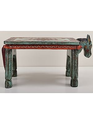 """7"""" Decorative Hand Painted Wooden Horse Table 