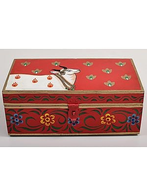 """3"""" Hand Painted Cow on Wooden Box 
