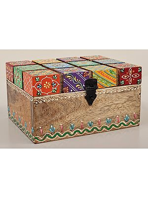 """4"""" Hand Painted Colorful Decorative Wooden Box   Mango Wood   Handmade   Made In India"""