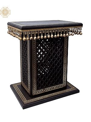 """26"""" High Wooden Pedestal with Lattice, Brass Work and Ghungroos    Wooden Pedestal   Handmade   Made In India"""