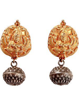 Goddess Lakshmi Dangle and Drop Earrings (South Indian Temple Jewelry)