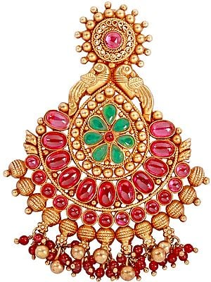 South Indian Temple Pendant Embellished with Pearls and Glass