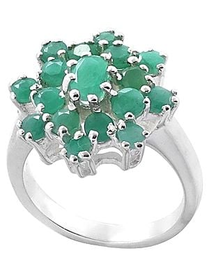 Floral Emerald Gemstone Ring Made in Sterling Silver