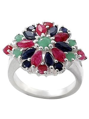 Floral Ruby, Emerald and Sapphire Gemstone Ring Made in Sterling Silver