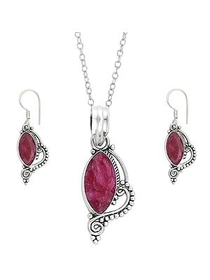 Faceted Ruby Pendant with Earrings Set