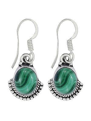 Malachite Studded Graceful Sterling Silver Earrings