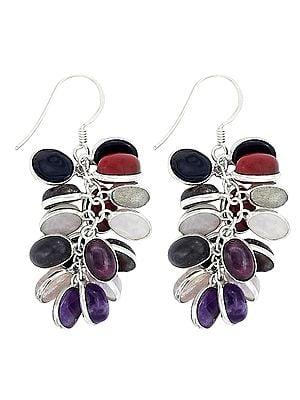 Multi Stone Bunch of Grapes Earrings