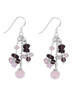 Sterling Silver Earrings with Smoky Quartz and Rose Quartz