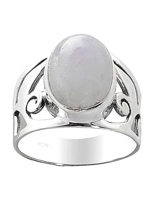 Designer Sterling Silver Ring with Rainbow Moonstone