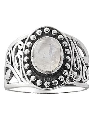 Designer Sterling Silver Ring Studded with Rainbow Moonstone