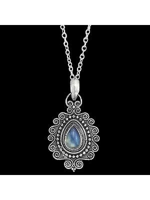 Embroidery Sterling Silver Pendant with Rainbow Moonstone