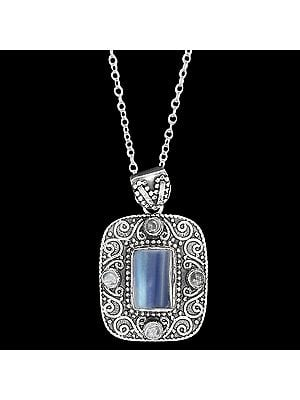 Designer Rainbow Moonstone Pendant With A Sterling Silver Frame