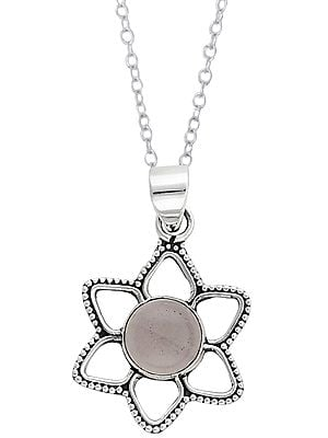 Sterling Silver Pendant Studded with Faceted Precious Gemstone