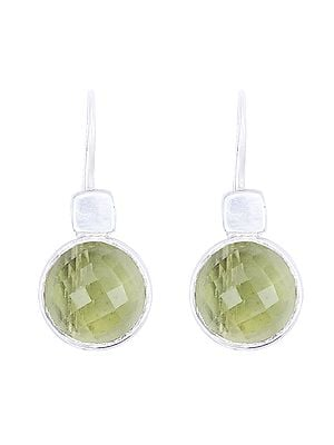 Faceted Sterling Silver Earrings Studded with Yellow Topaz Stone