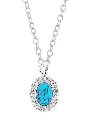 Sterling Silver Pendant Studded with Precious Gemstone