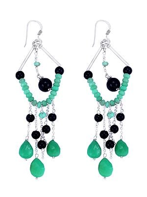 Sterling Silver Earrings with Emerald and Black Onyx Bead Dangles (Long Size)