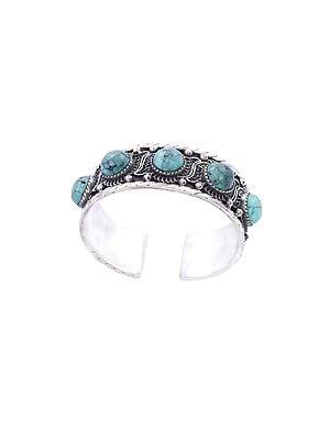 Turquoise Studded Sterling Silver Bracelet