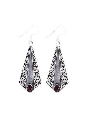 Designer Sterling Silver Earrings Studded with Garnet Stone