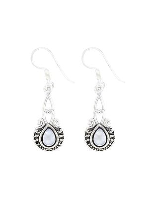 Sterling Silver Earrings Studded with Pearl