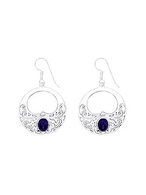 Stylish Sterling Silver Earrings Studded with Amethyst Stone