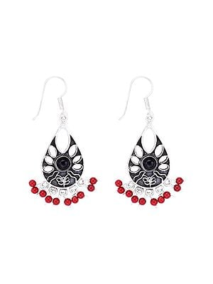 Sterling Silver Earrings with Black Onyx and Coral Stone