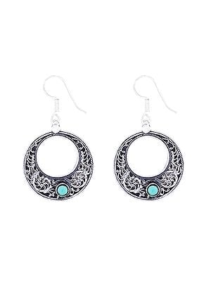 Stylish Sterling Silver Earrings with Turquoise Stone