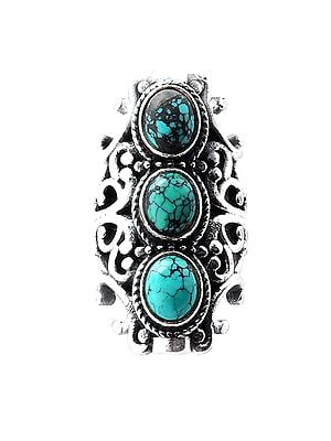 Big Size Sterling Silver Ring Studded with Turquoise Stone